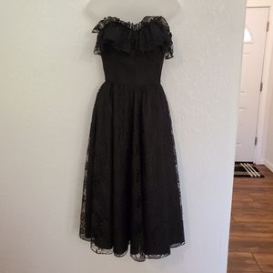 Vintage 80s Black Lace Floral Strapless Midi Dress